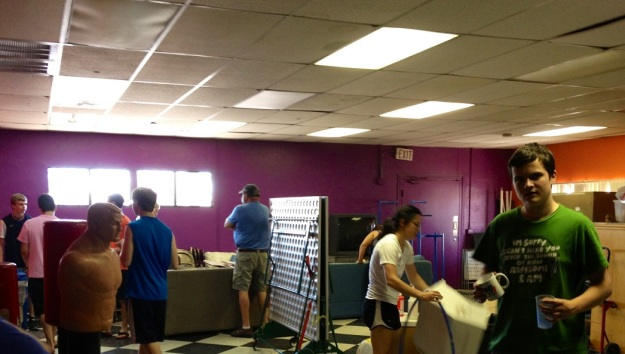 Day 2: Work party organizing and deep cleaning the youth room